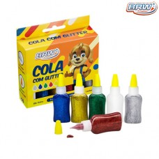 Cola Colorida com Glitter 25g Cx c/ 6 Cores BRW CO6025