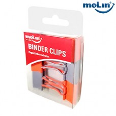Clips Binder Soft Touch 25mm Cinza e Laranja Blister c/ 6 Unidades Molin 23015