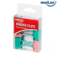 Clips Binder Soft Touch 25mm Rosa e Verde Blister c/ 6 Unidades Molin 23015