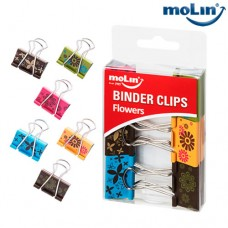 Clips Binder Flowers 32mm Blister c/ 6 Unidades Molin 23020