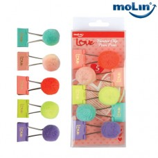 Clips Binder Love com Pom Pom 32mm Blister c/ 5 Unidades Molin 23025