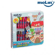 Maleta de Pintura Square Animal Planet c/ 51 Itens Molin 22835