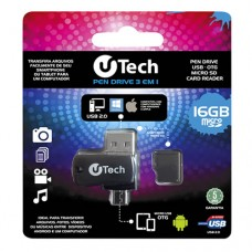 Kit Pen Drive 3 em 1 16GB Micro SD uTech