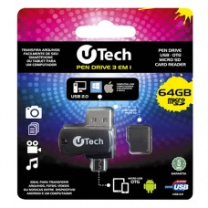 Kit Pen Drive 3 em 1 64GB Micro SD uTech