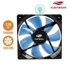 Cooler Fan para PC Storm 12x12cm com LED 1200RPM F7-L100BL C3 Tech Azul