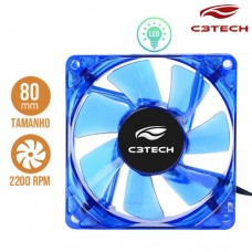 Cooler Fan para PC Storm 8x8cm com LED 2200RPM F7-L50BL C3 Tech Azul