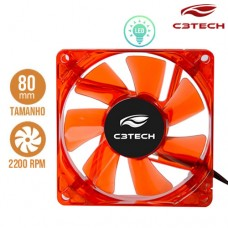 Cooler Fan para PC Storm 8x8cm com LED 2200RPM F7-L50RD C3 Tech Vermelho