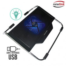 Base para Notebook Refrigerada com LED 2 Portas USB Cooler Prime Newlink CO103 - Preto