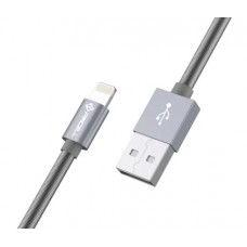 Cabo USB Lightning 1m 2A Mola Cromo 897 PMCELL CB-22 Preto