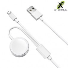 Cabo USB 2 em 1 Lightning + Carregador sem Fio para Apple Watch X-Cell XC-CD-62