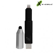 Adaptador USB Lightning + Caneta Touch p/ Celular/Tablet X-Cell XC-PEN-5 - Preto