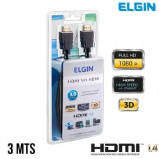 Cabo HDMI x HDMI v1.4 Emborrachado Ultra HD 4K 3Mts Elgin 46RCHDMI03MT