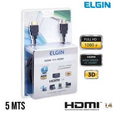 Cabo HDMI x HDMI v1.4 Emborrachado Ultra HD 4K 5Mts Elgin 46RCHDMI05MT