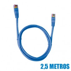 Cabo de Rede LAN Ethernet Cat.5E Azul 2,5m Patch Cord PC-ETHU25BL Plus Cable