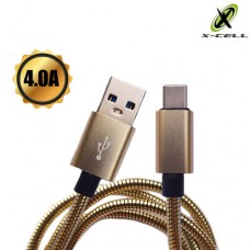 Cabo USB Type C Turbo Blindado Inox 1m 4.0A X-Cell XC-CD-52 - Dourado