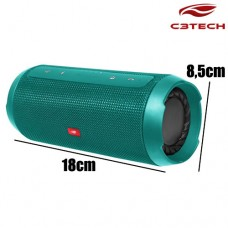 Caixa de Som Bluetooth/SD/FM/AUX/USB Portátil Pure Sound 15W RMS + Power Bank SP-B150GR C3 Tech - Verde