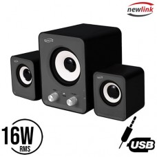 Caixa de Som Portátil 16W RMS P2 USB para PC/Notebook Subwoofer 2.1 Power Song Newlink SP202 - Cinza Preto