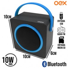 Caixa de Som Speaker Bluetooth/SD/USB/FM 10W RMS Color Box OEX SK404 - Preto Azul