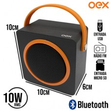 Caixa de Som Speaker Bluetooth/SD/USB/FM 10W RMS Color Box OEX SK404 - Preto Laranja