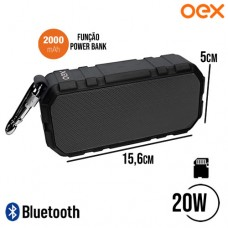 Caixa de Som Speaker Bluetooth/P2/SD 20W RMS Função Power Bank 2000mAh Brick OEX SK406 - Preto