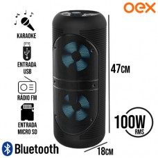 Caixa de Som Bluetooth/SD/FM/USB 100W RMS Speaker Joy TWS c/ LED OEX SK416 - Preto