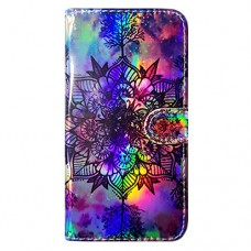 Capa Book Cover para Galaxy J4 Core e J4 Plus - Efeito Metalizado Mandala Aquarela