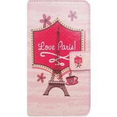 Capa Book Cover para Galaxy A5 2 A510 - Eifel Love Paris Rosa
