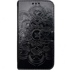 Book Cover para iPhone 6 Plus - Metalizado Mandala Preta