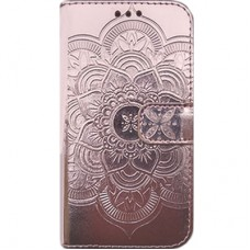 Book Cover para iPhone 6 Plus - Metalizado Mandala Rosa