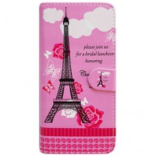 Capa Book Cover para Moto One Vision P40/One Action/P40 Power - Eiffel Rosa
