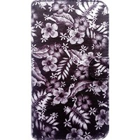 Capa Book Cover para LG K10 2017 - Floral Black White