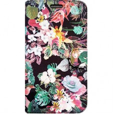 Capa Book Cover para Galaxy A7 2018 - Floral Black
