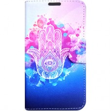 Capa Book Cover para Galaxy A8 2018 Plus - Hamsa Pink Azul