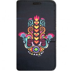 Capa Book Cover para Galaxy A8 2018 Plus - Hamsa Preta Colorida