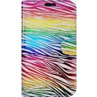 Capa Book Cover para Moto C Plus - Rainbow Animal