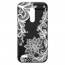 Capa para LG K11 Plus Case2you - Escovada Preta Renda Floral