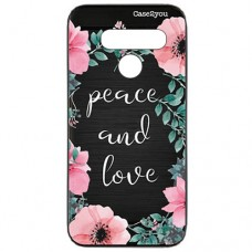 Capa para LG G8s ThinQ Case2you - Escovada Preta Peace and Love