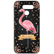 Capa para LG K40s Case2you - Escovada Preta Flamingo Beautiful