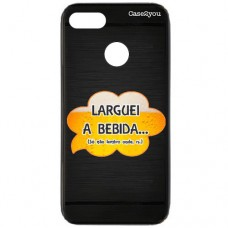 Capa para Motorola Moto E6 Play Case2you - Escovada Preta Larguei a Bebida