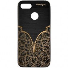 Capa para Motorola Moto E6 Play Case2you - Escovada Preta Mandala Gold