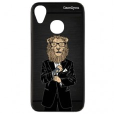 Capa para Motorola Moto E6 Case2you - Escovada Preta Lion Of Suite