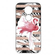 Capa para Motorola Moto E5 Play Case2you - Escovada Preta Flamingo Listras Rosa