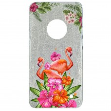Capa para Motorola Moto G6 Plus Case2you - Flamingo Flowers Gliter Prata