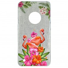 Capa para Motorola Moto G6 Case2you - Flamingo Flowers Gliter Prata