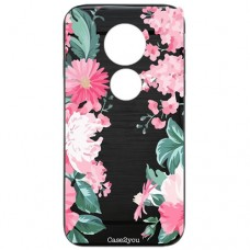 Capa para Motorola Moto G7 Power Case2you - Escovada Preta Floral