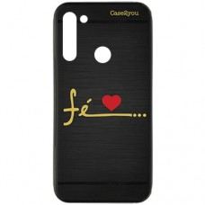 Capa para Motorola Moto G8 Power Case2you - Escovada Preta Fé Love