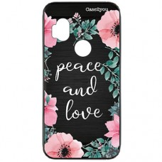 Capa para Motorola Moto One Hyper Case2you - Escovada Preta Peace and Love