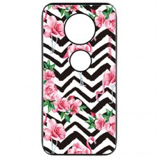 Capa para Motorola Moto Z4 Play Case2you - Escovada Preta Flamingo Rosas