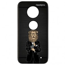 Capa para Motorola Moto Z4 Play Case2you - Escovada Preta Lion Of Suite