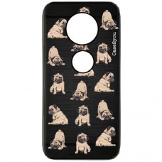 Capa para Motorola Moto Z4 Play Case2you - Escovada Preta Mini Pugs